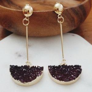 Jewelry - 💎💎 Druzy Drop Earrings - Wine Maroon Red Color